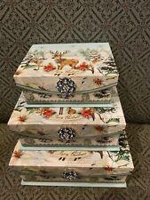 PUNCH STUDIO MERRY CHRISTMAS DEER JEWELED BROOCH TRINKET NESTING BOXES SET OF 3