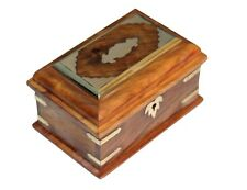 Wooden Jewelry Box With Key/ Beveled Edge & Brass Inlay