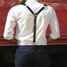 Men's Artificial Leather Adjustable Hooks Braces Y-back Suspenders