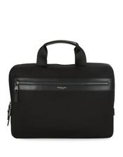 Michael Kors Logo Accent Slim Briefcase Black Nylon & Faux Leather