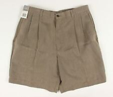 New Claiborne Mens Size 34 Khaki Brown Pleated Front Shorts K169