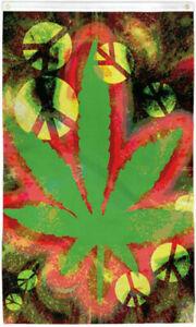 Tie Dye Peace Marijuana Leaf Flag 3x5ft 420 Mj flag Tie Dye Hippy Pot Weed Flag
