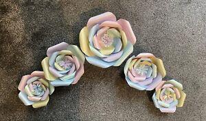 Pastel Colours Multi 3D Paper Flower Set Wall Decor Backdrop Nursery Bedroom