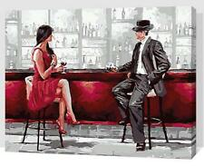 Framed Painting by Numbers kit Lady Appointment Engagement In The Bar DIY FZ7050