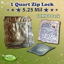 50 - 1 Quart 5.25 Mil  Zip Lock  Mylar PRO Foil Bags + 300cc Oxygen Absorbers