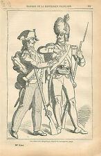 Uniforme Costume Soldats de l'an II La République GRAVURE ANTIQUE OLD PRINT 1873