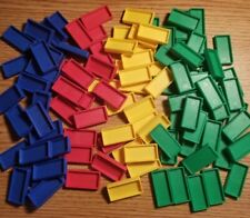 Vintage 100+ DOMINO RALLY Replacement Tiles lot (Green Blue Red Yellow) PRESSMAN