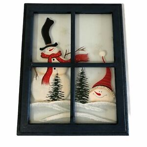 Christmas Wooden Window Painting Snowman Decoration Rustic Country Wall Decor