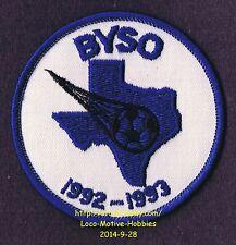 "LMH PATCH Badge  1992 1993 BASTROP YOUTH SOCCER Org.  Futbol BYSO TX Football 3"""