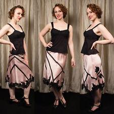 BCBG MAX AZRIA 6 Pink Satin Skirt Black Lace Pin up Vtg Retro French Swing look