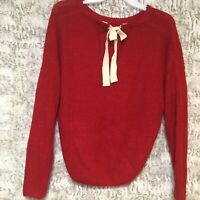 E & M Red Womens Sweater 100% Acrylic Size Large Pullover Top
