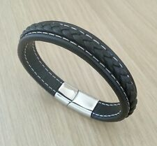 Men's Genuine Black Leather Bracelet ~  21cm ~ Stainless Steel Magnetic Clasp