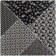 Nero e Bianco Stampato 100% Cotone Popeline Tessuto Artigianale 114cm M733 Mtex