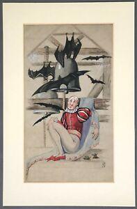 SIGNED Original Drawing   Kathleen Maude Debenham   Bats in the Belfry   c.1930