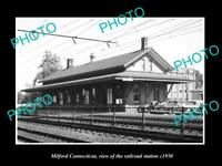 OLD LARGE HISTORIC PHOTO OF MILFORD CONNECTICUT THE RAILROAD STATION c1950