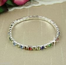 B1 Wedding Prom Silver Plated Stretch Bracelet with Multi Colour Crystals Small