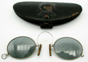 Antique PINCE NEZ Oval SMOKEY GRAY Sunglasses Non Prescription LORGNETTE w Case