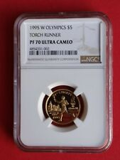 1995 W Olympics TORCH RUNNER $5 GOLD NGC PF 70 UC