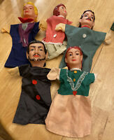 PUPPETS SET OF 5 VINTAGE PUPPETS 3 BOYS 2 GIRLS