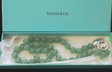 Tiffany & Co Rare Silver Heart Knocker & Jade Aventurine Bead Necklace +Box 1995