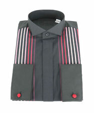 Machine Washable Striped Tuxedo, Dress Formal Shirts for Men