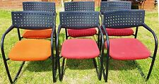 6 OFFICE CHAIRS Comfortable Padded Cloth Seats - 4 Red & 2 Orange Exc. Used Cond