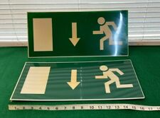 2x OLD INDUSTRIAL FIRE EXIT SIGN GARAGE MANCAVE WALLART