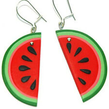Fimo polymer clay drop dangle red watermelon fruit earrings jewelry gift idea