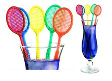 Tennis Racquet Cocktail Stirrers - Assorted Color Racket Party Swizzles (20)