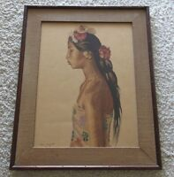 BEN SILBERT PAINTING 1930'S YOUNG BALI WOMAN PLUGGED EARS TRADITIONAL PORTRAIT