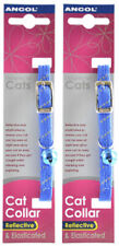 Ancol Reflective Softweave Cat Collar Blue 2 Pack Deal Safety Elasticated Clip