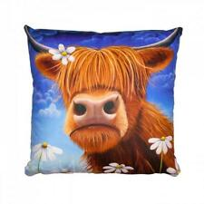 Luxurious Lucy Pittaway Highland Cow Daisy Cushion Faux Suede
