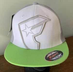 Famous Stars & Straps Logo Flex Fit SM/MED Wht/Gray/Lime Cap New W/Tags $31.99