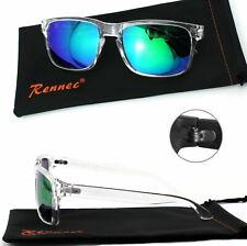 Sonnenbrille Transparent Weiß Silber Verspiegelt Nerd Rechteckig Damen Herren T3