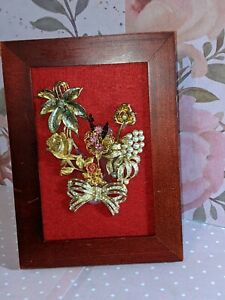 OOAK Flowers on felt; repurposed jewelry;  lovely and timeless!