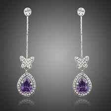 Platinum Plated Butterfly W/Princess Purple Cubic Zirconia Drop Earrings E841-45