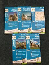 5 IGN Maps of France: Utah Beach, Omaha Beach, Ernee, Bayeux, Caen