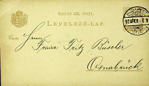 HUNGARY 1892 2k ST. STEPHEN'S CROWN POSTAL CARD F/ BUDAPEST TO OSNABRUCK GERMANY