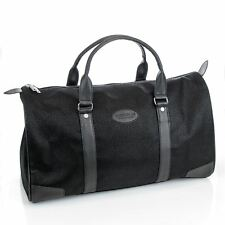 Mens Travel Bag Holdall Weekend Overnight Leather Look Duffle Black Medium