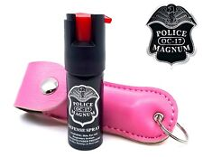 Police Magnum pepper spray 1/2oz Pink Keychain Holster Case Security Protection