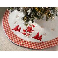 Large Christmas Tree Skirt with Santa, Checkered Design, Red and White - 107 cm