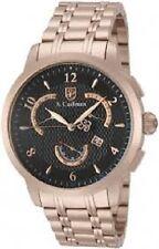 S. Coifman Men's SC0240 Quartz Multifunction Black Face Watch Rose Gold Tone