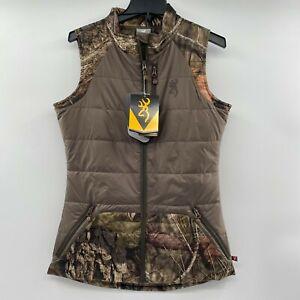 Browning Women's Camo Hunting Full Zip Puffer Vest Mossy Oak Breakup Country S