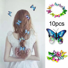 10Pcs Mixed Butterfly Hair Clips Hairpin Accessory 3D Festival Party Wedding UK