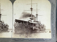 1904 CHINA CHINESE STEREOVIEW HMS OCEAN BRITISH WARSHIP IN WEIHAIWEI SHANTUNG