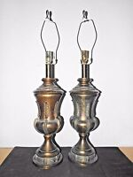 """LAMPS A PAIR OF 29""""H HOTEL STYLE FANCY CAST METAL ART-DECO THEMED TABLE LAMPS"""
