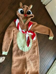 NEW Rudolph the Red Nose Reindeer Adult Bodysuit Full Zip Extra Small 0-2 SOFT