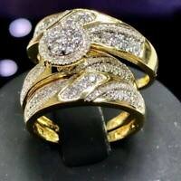 2Ct His&Her Diamond Wedding 14K Yellow Gold Over Trio Bridal Engagement Ring Set