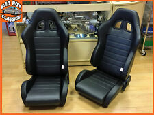 Pair BB4 Reclining Bucket Sports Seats Black + Tilting Subframe CLASSIC MINI