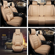 Car Front&Rear Seat Cover 5-Seats Cushions W/Neck Lumbar Pillows Beige Interior